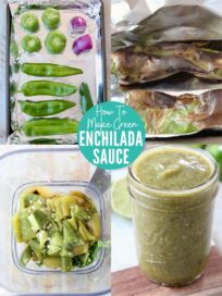 collage of images showing how to make green enchilada sauce