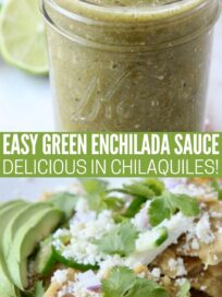 collage of images showing green enchilada sauce in jar and mixed into chilaquiles on plate