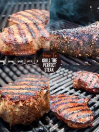 collage of images showing different cuts of steak on the grill