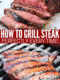 sliced sirloin on plate and whole sirloin steak on grill