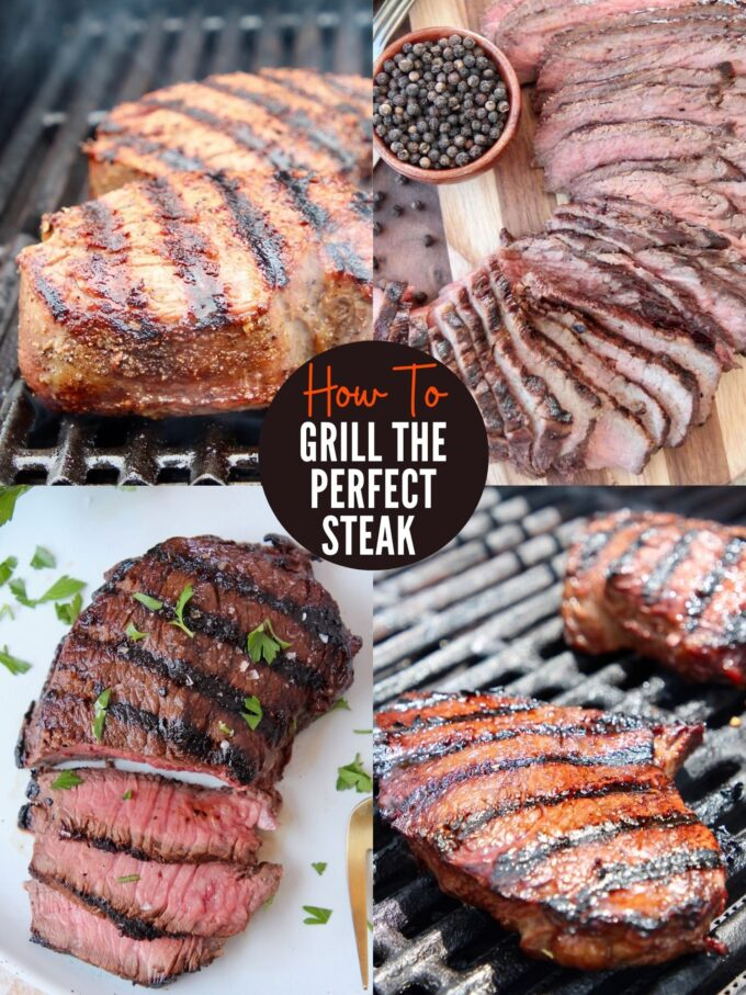collage of images showing steaks on grill and sliced on plates