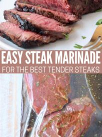 sliced sirloin on plate and whole sirloin steaks in bag of marinade