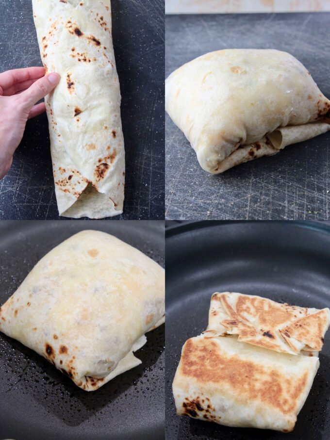 collage of images showing how to roll and cook a burrito