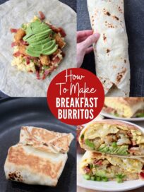 collage of images showing how to make a breakfast burrito