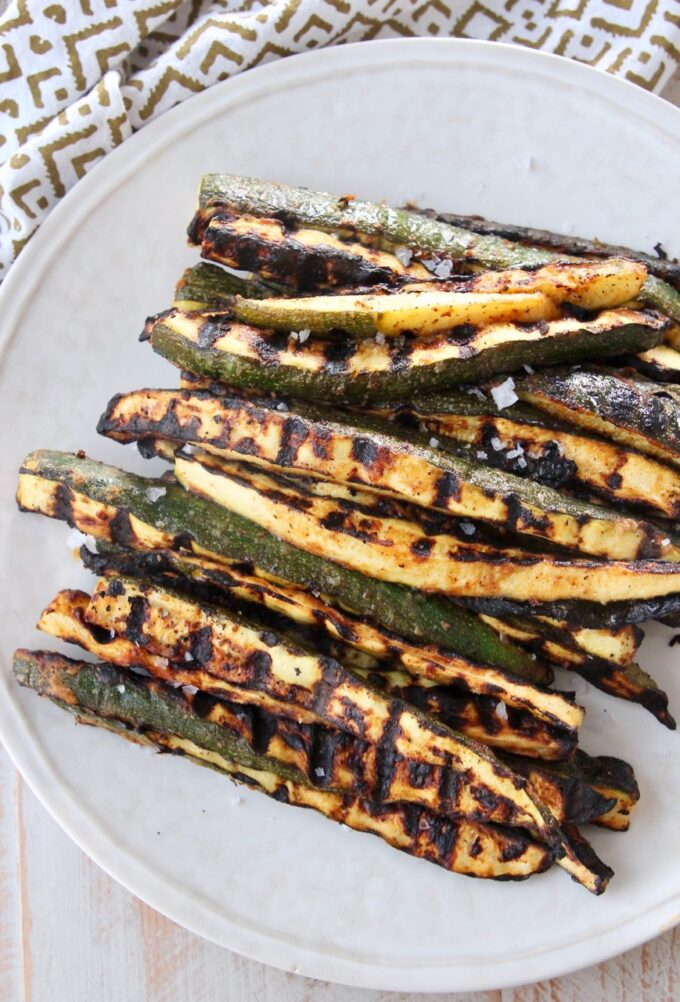 grilled slices of zucchini on plate