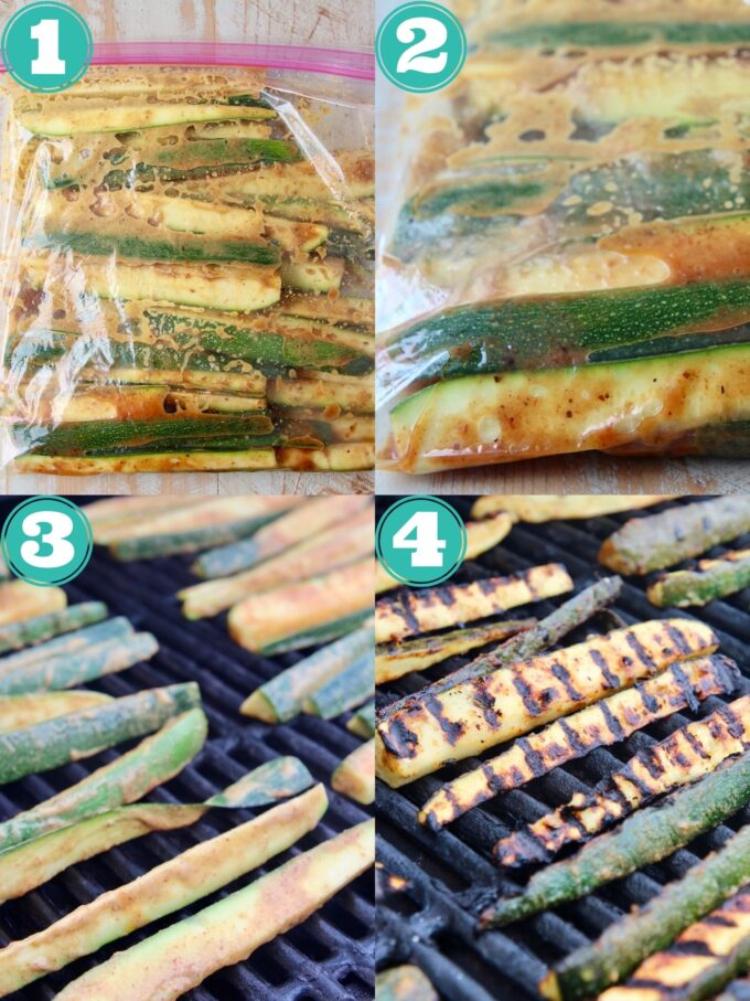 collage of images showing how to marinate and grill zucchini