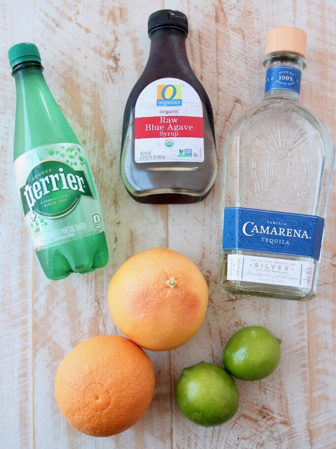 ingredients for paloma cocktail