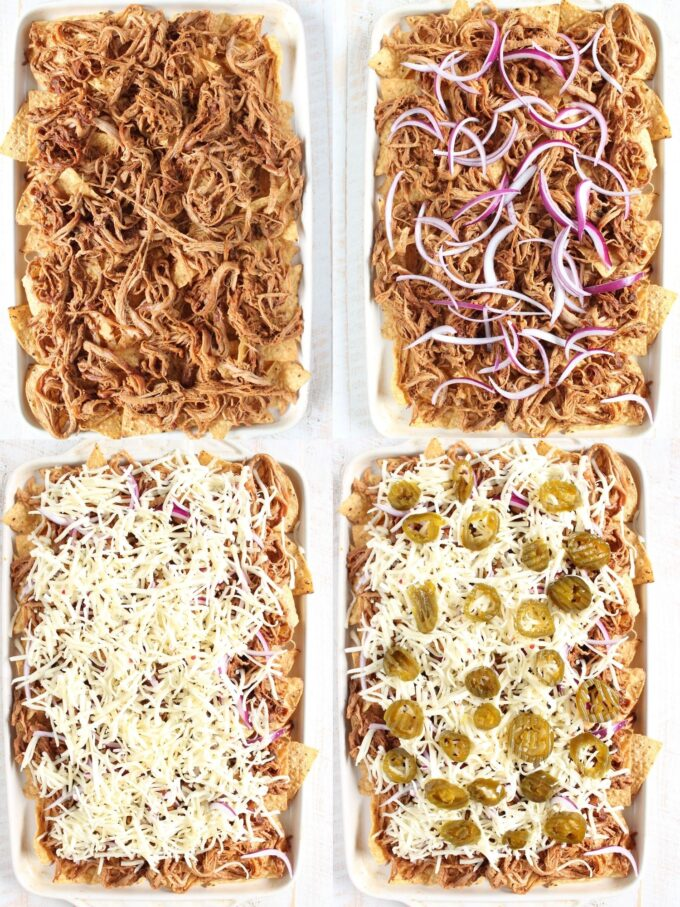 collage of images showing how to make pulled pork nachos