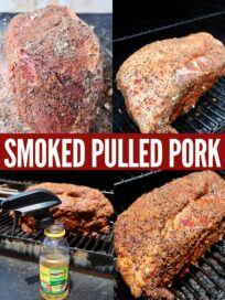 collage of images showing how to make smoked pulled pork