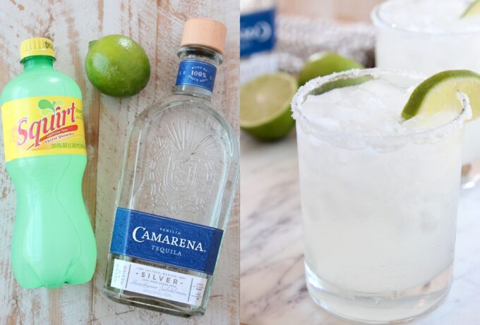 collage of images showing ingredients for palomas and paloma in glass with salt rim