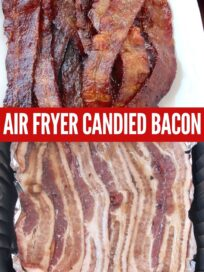 candied bacon cooked on plate and raw bacon in air fryer