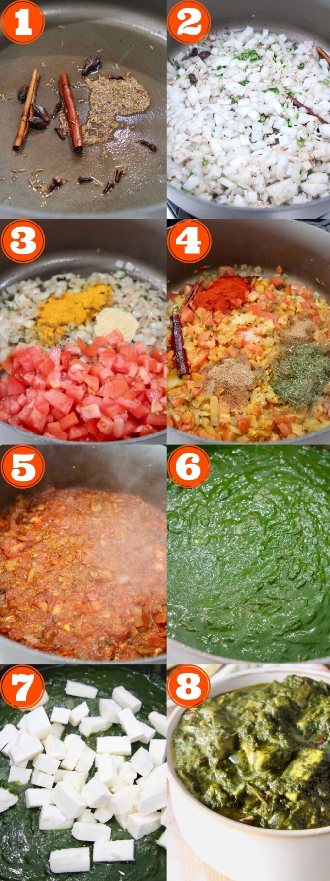 collage of images showing how to make palak paneer