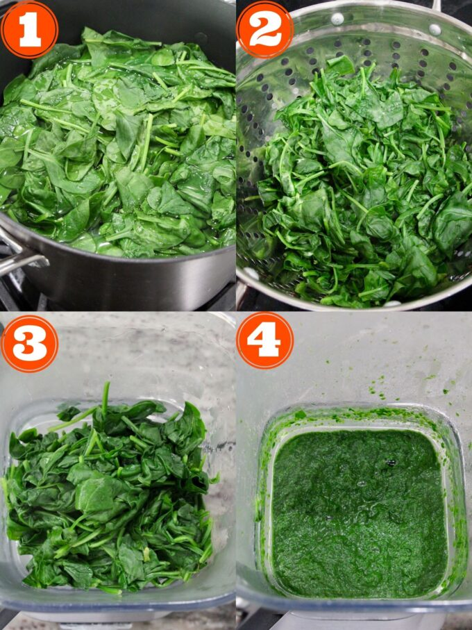 collage of images showing how to make cooked, pureed spinach