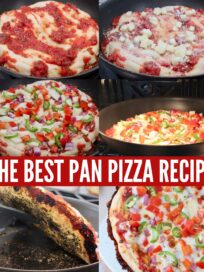 collage of images showing how to make pan pizza