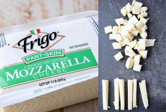 mozzarella cheese in package and cut into cubes on cutting board