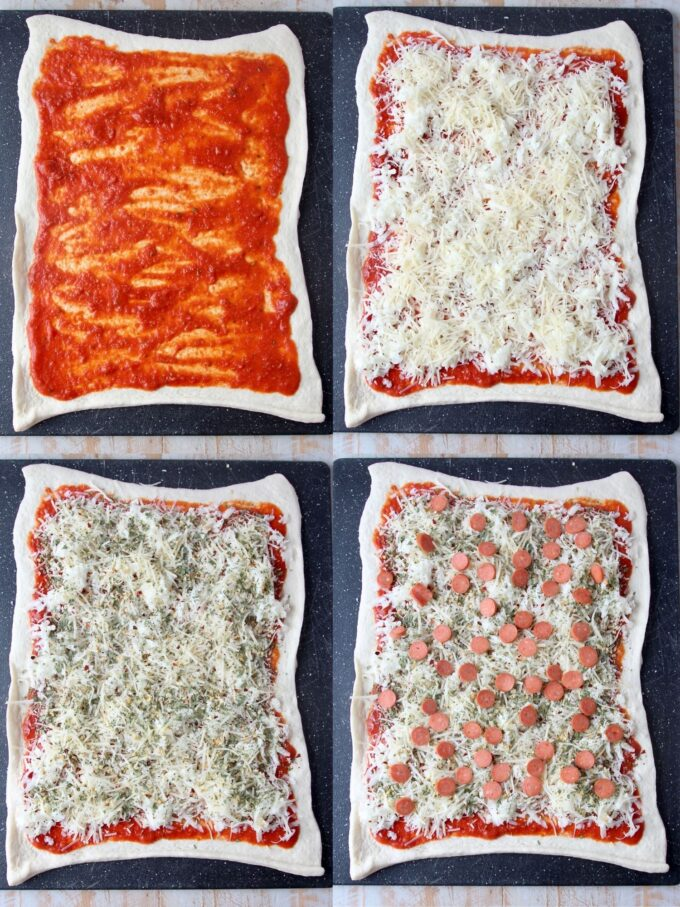 collage of images showing how to make pizza rolls