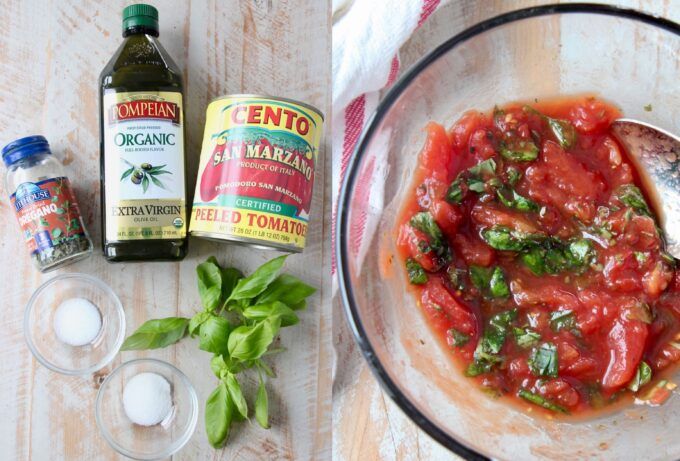 pizza sauce ingredients and homemade sauce in a glass bowl
