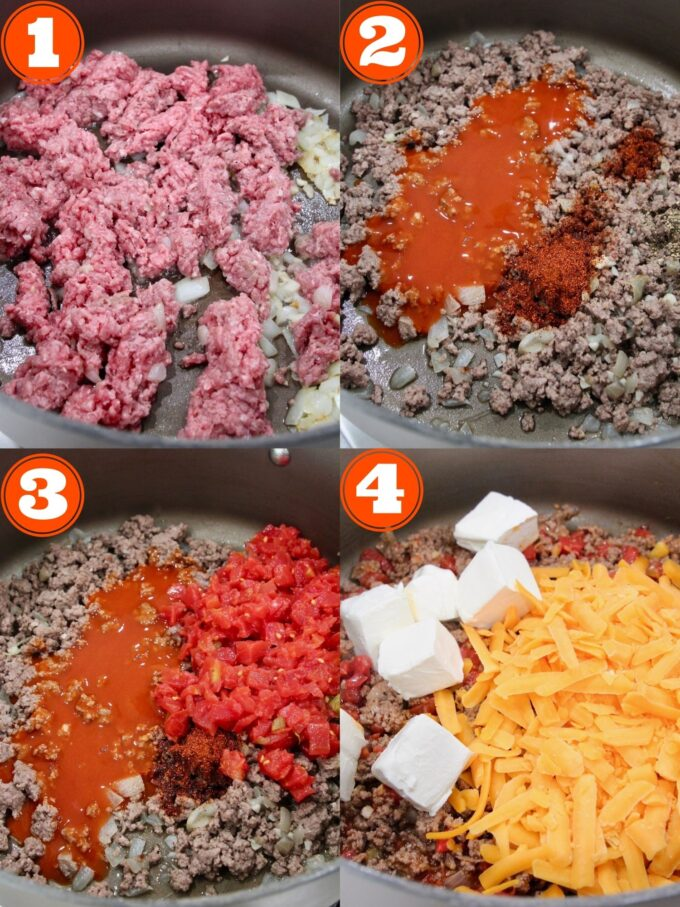 collage of instructional images showing how to make cheeseburger dip