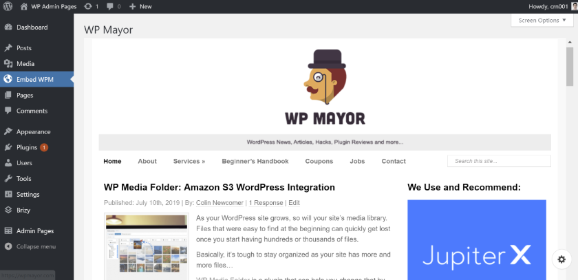 WP Admin Pages pro embed html