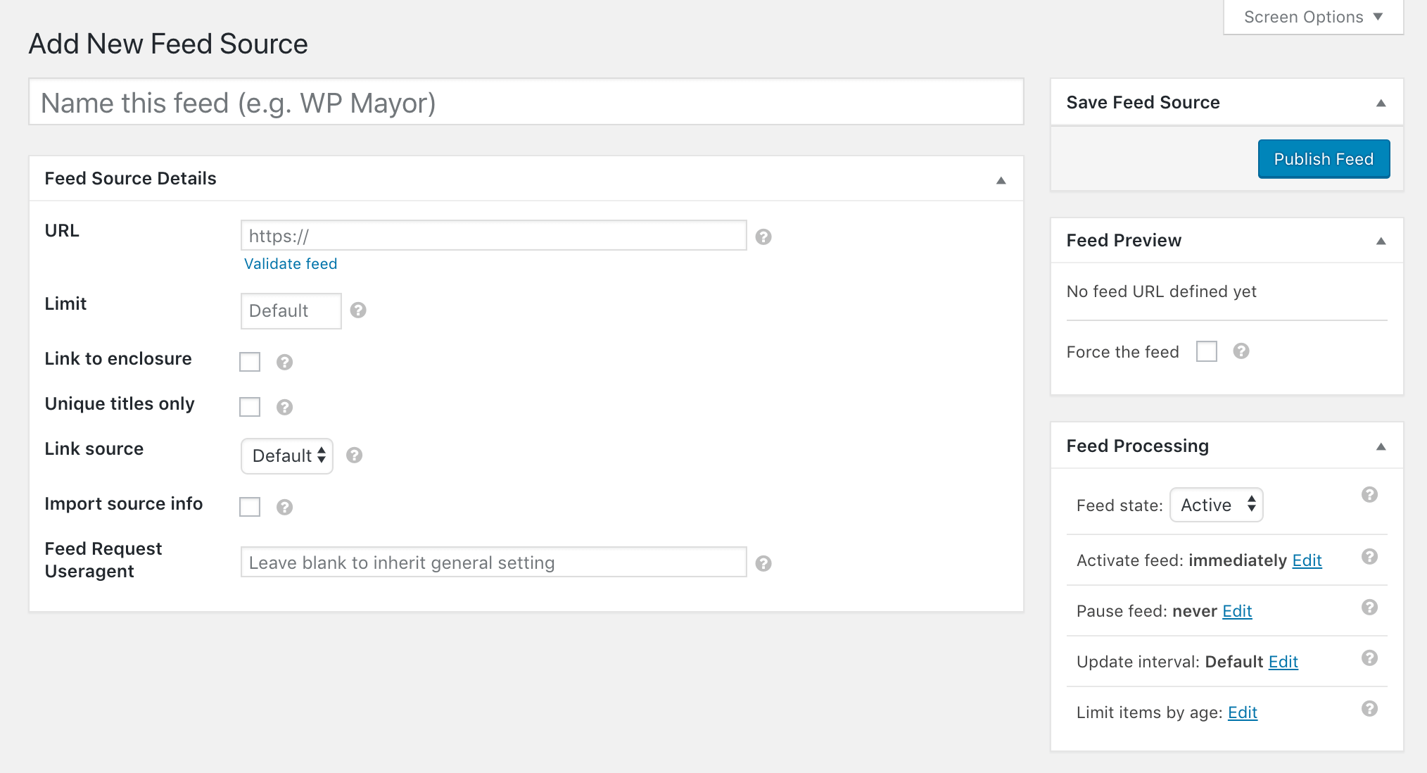 Adding a new feed source in WP RSS Aggregator.