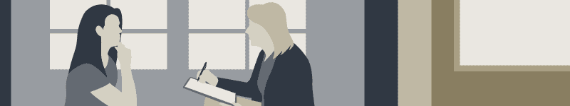 Illustration of a woman being interviewed by another woman prior to admitting for alcohol rehab treatment.