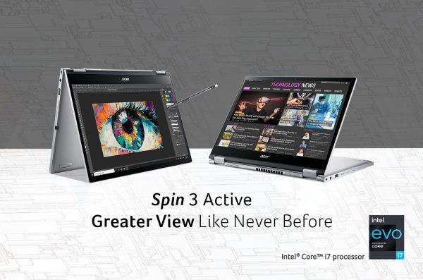 Laptop Acer Spin 3 Active (SP313-51N), Laptop Convertible dengan Didukung Performa Responsif