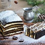 Gingerbread Cake with Persimmon Curd dusted with powder sugar