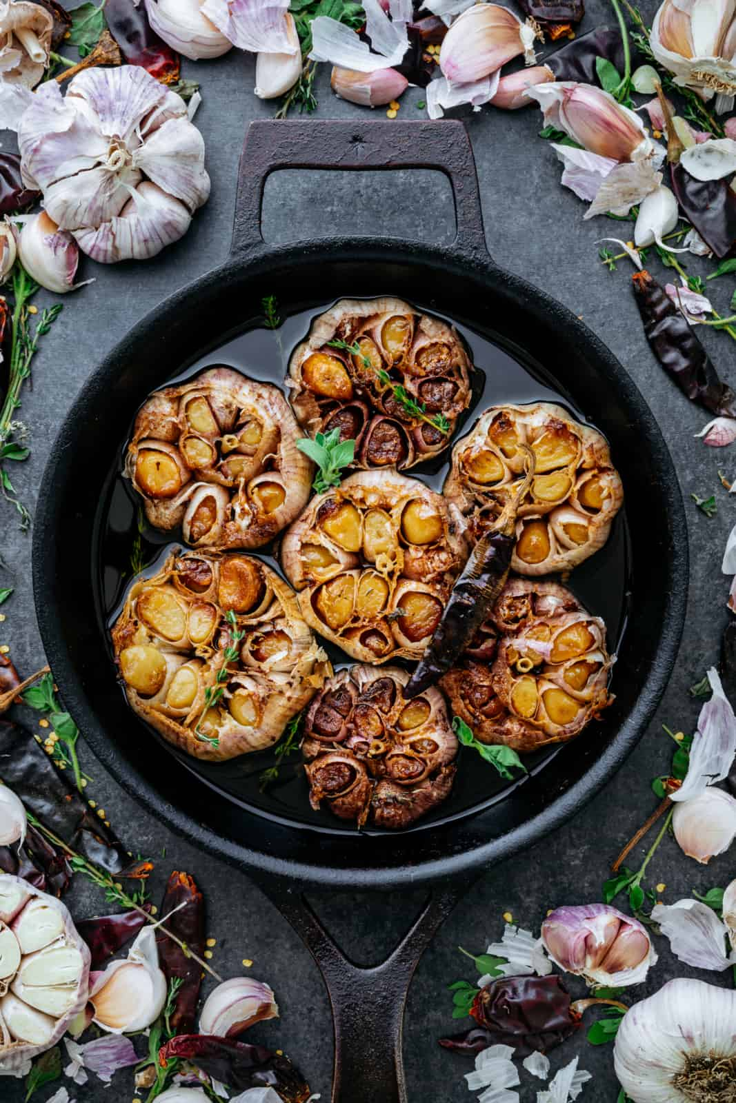Garlic Confit Whole Roasted in Oil