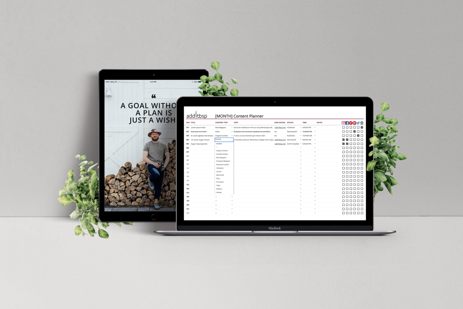 Monthly Content Planner for Bloggers