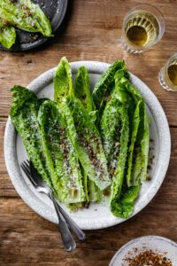 Romaine Salad with Pecorino Anchovy Vinaigrette and Sumac Breadcrumbs
