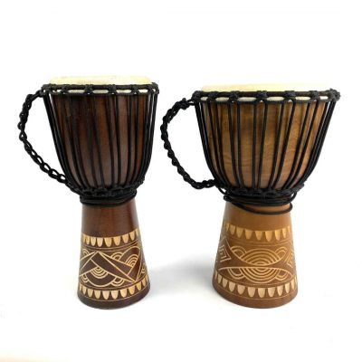 Indo Series 40cm Junior Djembes in two sizes.