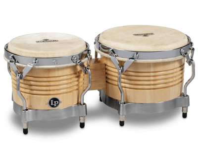 Wood Bongos feature Siam Oak shells, rawhide heads and traditional rims