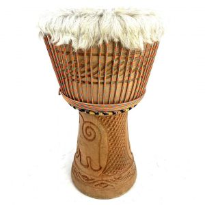 Hair on Ghana Djembe with Complex Carvings