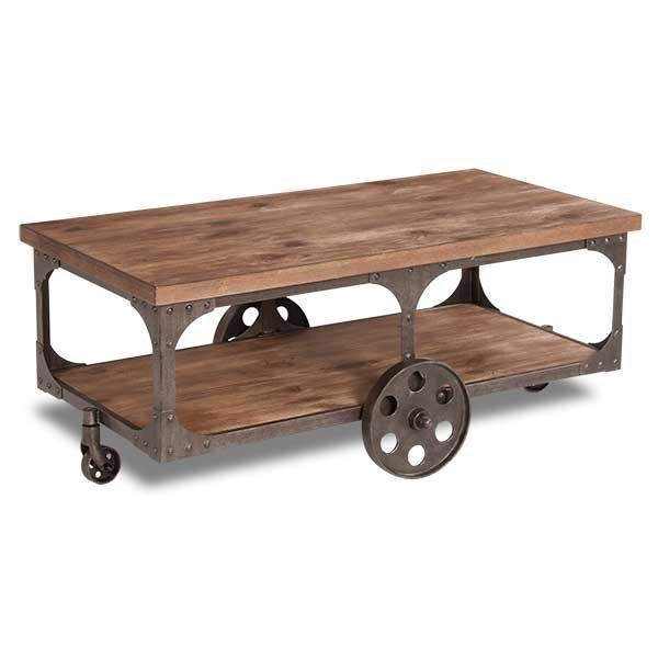 Rustic Cocktail Table On Wheels T500 721 Ashley Furniture Afw Com