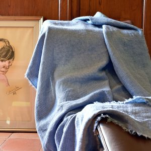 Waffle Throw - Hand-painted Linen Throw - Navy Blue - Throw draped over indoor chair