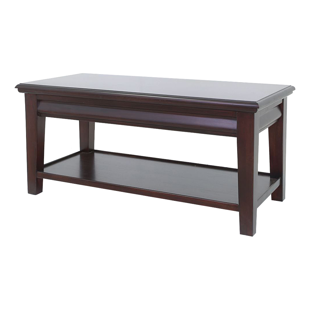Solid Mahogany Wood Coffee Table Antique Design With Drawer Shelf
