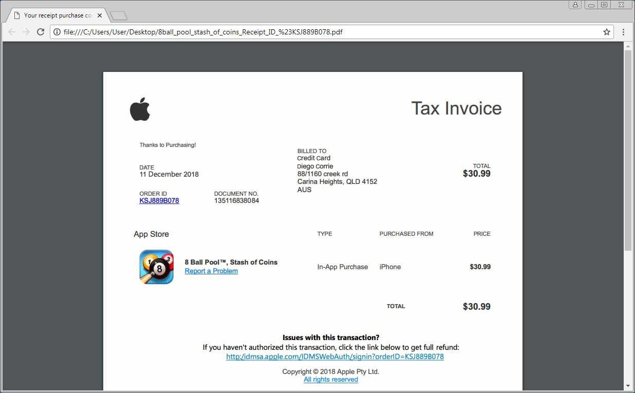 Apple scam fake App Store purchase