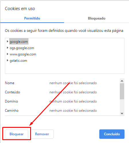 como bloquear cookies do Google