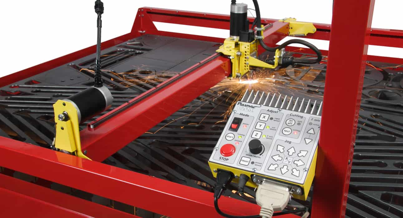 CNC Plasma Cutters Samson 510 showing controller, cutting in action