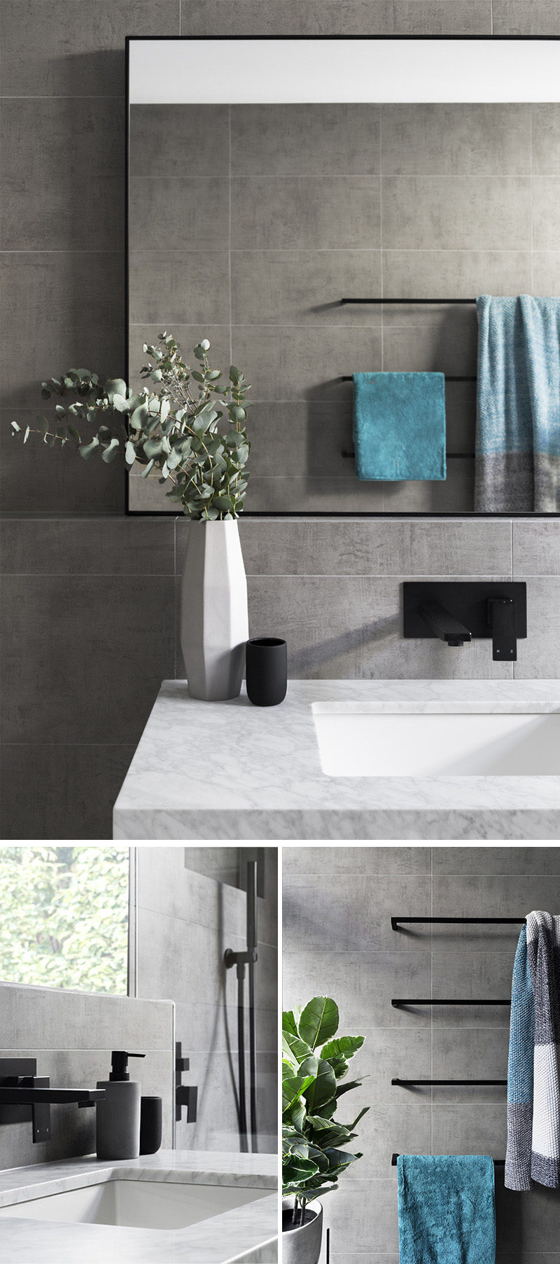 What Colour Towels Goes With Grey Tiles In Bathroom