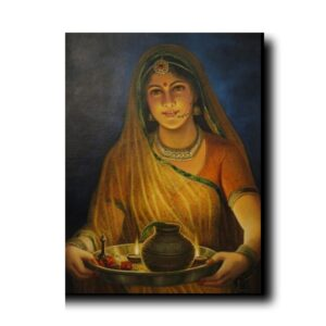 "beautiful indian lady painting-Gateway Of Happiness ""Woman - The Real Deity"""