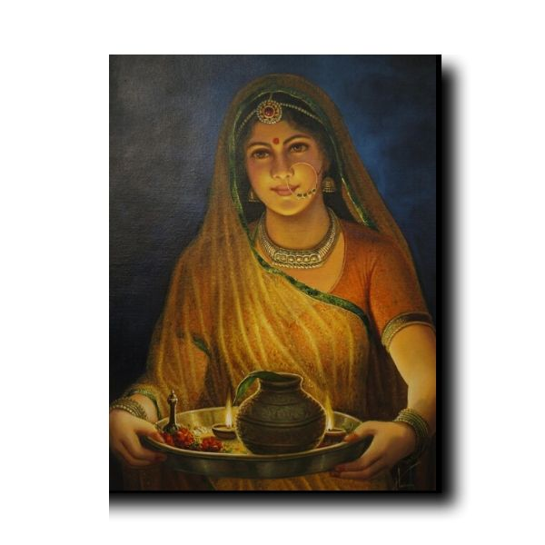 """beautiful indian lady painting-Gateway Of Happiness """"Woman - The Real Deity"""""""