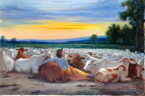 Krishna And His Best Friends - Part 2 | Oil Painting By Hari Om Singh