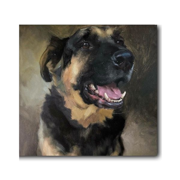 German Shepherd Oil Painting-1