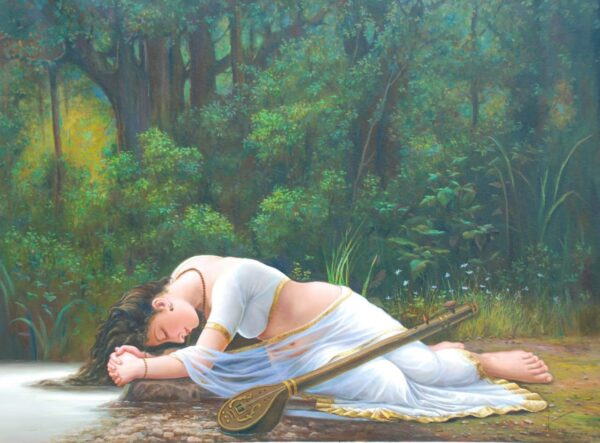 Meera Longing For A Found Love | Oil Painting By Hari Om Singh