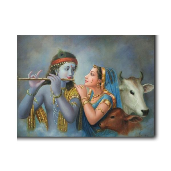 beautiful wall painting-the-complete-lords-radha-krishna-oil-painting