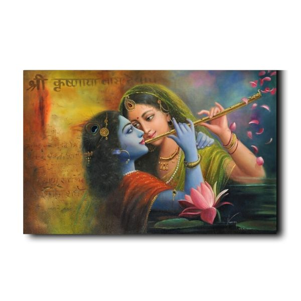 Beautiful Krishna Meera Painting-the-marvel-of-flute-radha-krishna-oil-painting