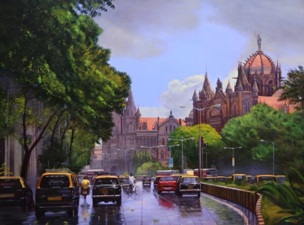 Evening Journey | Acrylic On Canvas Artwork By Deepak R. Patil | 36x48