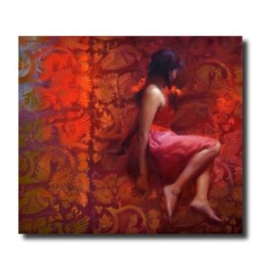 Premium Figurative Artwork girl-in-red-by-pramod-kurlekar-oil-painting