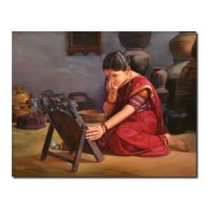 beautiful cultural artwork-Colors of Life | Oil On Canvas Artwork by Deepak R. Patil | 24x30